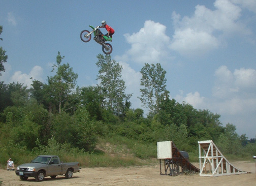 Steve Wagner jumps the FMXSchool.com freestyle ramp at 70 feet.